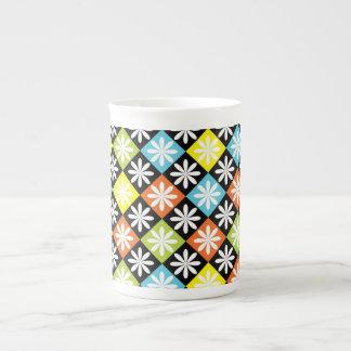 Diamonds floral colorful pattern bone china mug