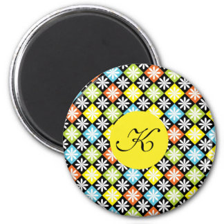 Diamonds floral colorful pattern custom initial magnets