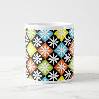Diamonds floral colorful pattern jumbo mug