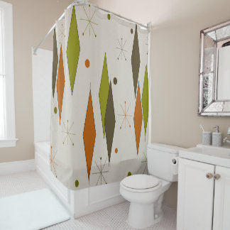 Diamonds Forever Mid-Century Style Shower Curtain