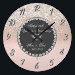 "Diamonds Glitter Bokeh 25th Wedding Anniversary Large Clock<br><div class=""desc"">Elegant silver diamonds wedding anniversary clock.</div>"
