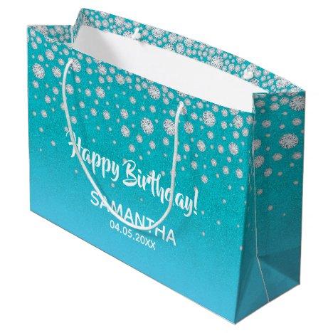 Diamonds glitter on teal blue green Happy Birthday Large Gift Bag