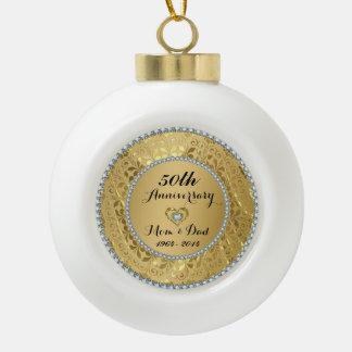 Diamonds & Gold 2 50th Wedding Anniversary Ceramic Ball Christmas Ornament