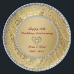 "Diamonds &amp; Gold 2 50th Wedding Anniversary Melamine Plate<br><div class=""desc"">Elegant gold tones floral border with 2 hearts and a diamond,  Gold 50th Wedding Anniversary Customizable Plate. It comes in silver tones.</div>"