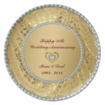 Diamonds & Gold 2 50th Wedding Anniversary Melamine Plate