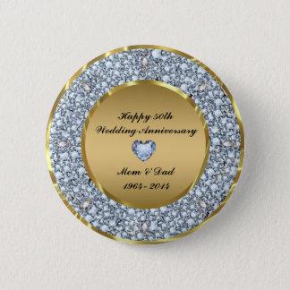 Diamonds & Gold 50th Wedding Anniversary Button