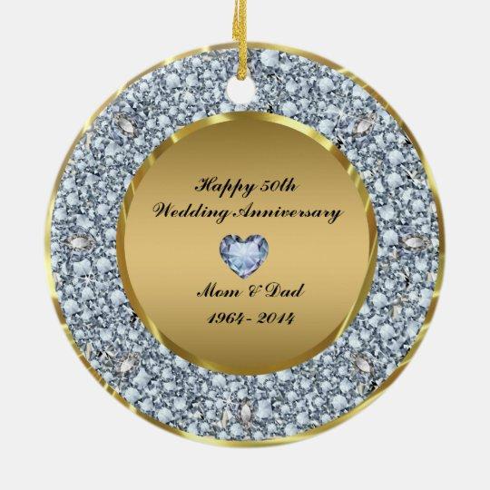 50th Wedding Anniversary Gift Etiquette: Diamonds & Gold 50th Wedding Anniversary Ceramic Ornament