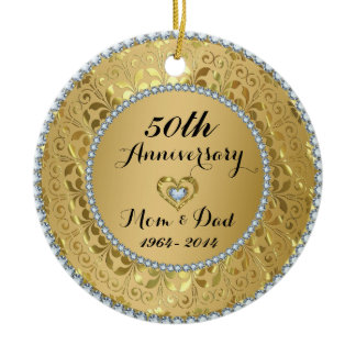 Diamonds & Gold 50th Wedding Anniversary Ceramic Ornament