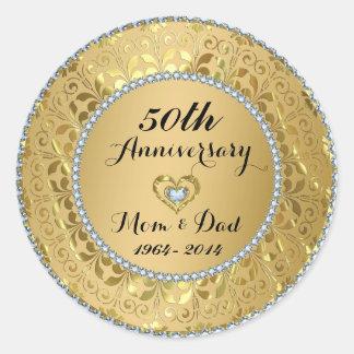 Diamonds & Gold 50th Wedding Anniversary Classic Round Sticker