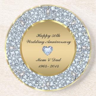 Diamonds & Gold 50th Wedding Anniversary Coaster