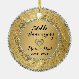 Diamonds & Gold 50th Wedding Anniversary Double-Sided Ceramic Round Christmas Ornament
