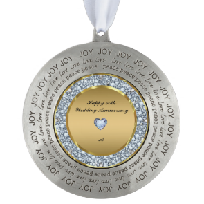 Diamonds & Gold 50th Wedding Anniversary Round Ornament