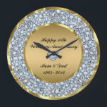 "Diamonds &amp; Gold 50th Wedding Anniversary Large Clock<br><div class=""desc"">Elegant Encrusted Diamonds And (image not real or fake) Gold 50th Wedding Anniversary.</div>"