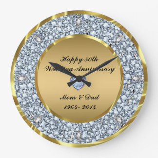 Diamonds & Gold 50th Wedding Anniversary Large Clock