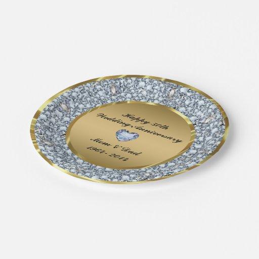 Diamonds Gold 50th Wedding Anniversary Paper Plate Zazzle