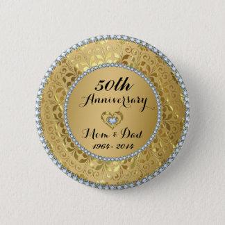 Diamonds & Gold 50th Wedding Anniversary Pinback Button