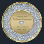 "Diamonds &amp; Gold 50th Wedding Anniversary Plate<br><div class=""desc"">Elegant Encrusted Diamonds And image not real or fake) Gold 50th Wedding Anniversary Customizable Plate.  See this as a wall clock and a diner plate.</div>"