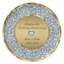 Diamonds & Gold 50th Wedding Anniversary Plate