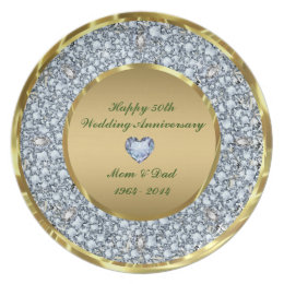 Diamonds Gold 50th Wedding Anniversary Plate