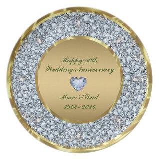Diamonds & Gold 50th Wedding Anniversary Plate at Zazzle