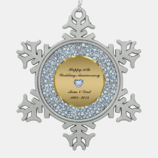 Diamonds & Gold 50th Wedding Anniversary Snowflake Pewter Christmas Ornament