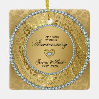 Diamonds & Gold Rings 50th Wedding Anniversary Ceramic Ornament