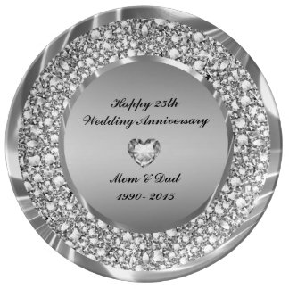 Diamonds Heart And Silver Glitter 25th Anniversary Dinner Plate