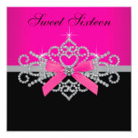 Diamonds Hot Pink Black Sweet 16 Birthday Party Custom Announcements