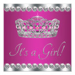 Diamonds Hot Pink Princess Baby Shower Custom Announcements