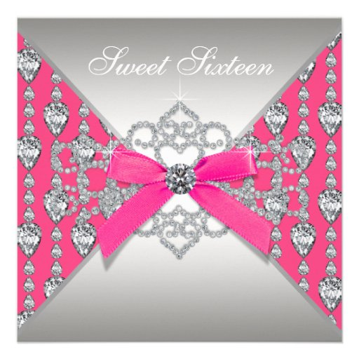 Diamonds Hot Pink Sweet 16 Birthday Party Personalized Invites