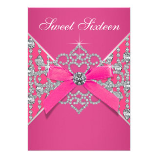 Diamonds Hot Pink Sweet 16 Birthday Party Personalized Announcement