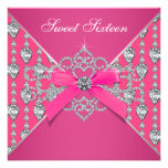 Diamonds Hot Pink Sweet 16 Birthday Party Custom Invite