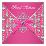 Diamonds Hot Pink Sweet 16 Birthday Party Custom Invite