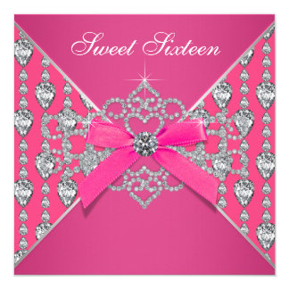 "Diamonds Hot Pink Sweet 16 Birthday Party 5.25"" Square Invitation Card"