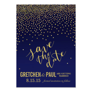 Diamonds in the Sky Wedding Save the Date   navy Card
