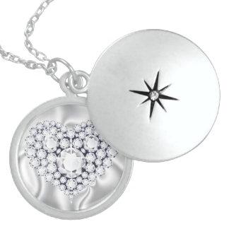 Diamonds Jeweled Heart Sterling Silver Locke Round Locket Necklace