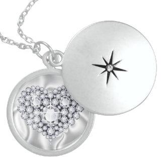 Diamonds Jeweled Heart Sterling Silver Locket