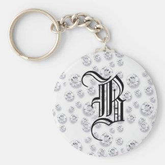 Diamonds Basic Round Button Keychain