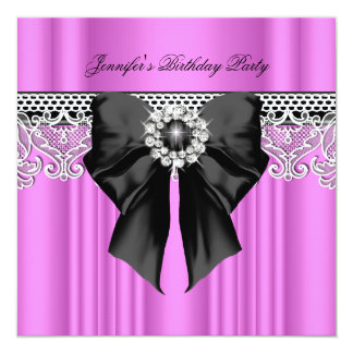Diamonds Lace Image Birthday Party Black Pink Card