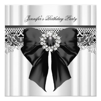 Diamonds Lace Image Birthday Party Black White Card