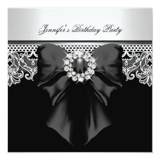 Diamonds Lace Image Birthday Party Black White Personalized Invitations