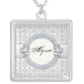 Diamonds & Lace, Monogram Bridemaid Maid of Honor Silver Plated Necklace