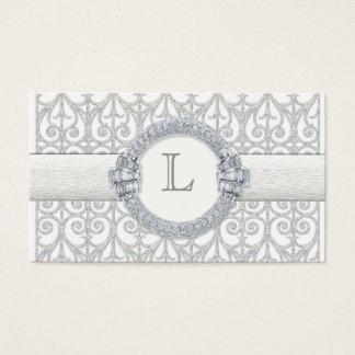 Diamonds & Lace, Monogram  Wedding Table Seating Business Card