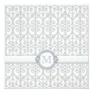 """Diamonds & Lace, Monogrammed Wedding Invitation 5.25"""" Square Invitation Card"""