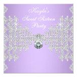 Diamonds Lavender Purple Sweet 16 Birthday Party Card