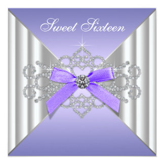 Diamonds Lavender Sweet 16 Birthday Party Card