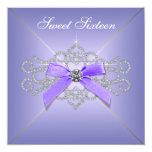 Diamonds Lavender Sweet 16 Birthday Party Custom Invite