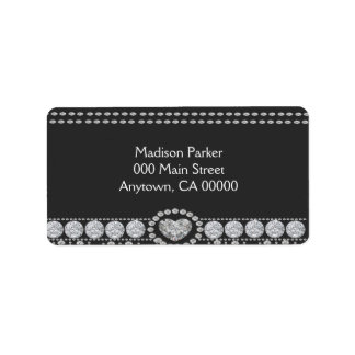 Diamonds on Black and White Background Address Label