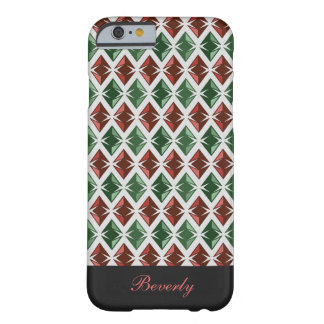 Diamonds Pattern Geometric Red Green any Name Barely There iPhone 6 Case