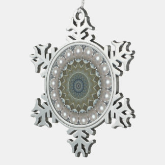 Diamonds, pearls and gemstones Kaleidoscope Snowflake Pewter Christmas Ornament